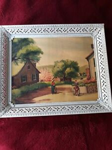 Vintage Gene Walsh Print(Couple on Bicycles scene) with Metal Frame