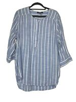 "Nine West Jeans Ladies Blue Chambray Striped Cotton Blend ""Lucy"" Top Size XXL"