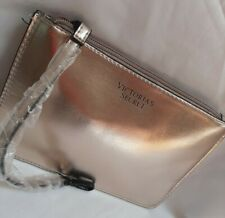 """NEW Victoria's Secret Makeup Cosmetic Bag, metallic pink, with strap, 8"""" X 5.5"""""""
