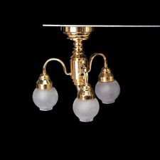 1:12 Dollhouse Brass Chandelier 3 arm Lamp LED Ceiling Lamp Glass Shade C8X7