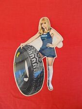 very rare vintage 1960 pirelli  tires Italy risqué  pin up girl   photo decal