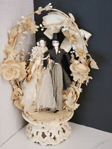 Vintage 1920's Pipe Cleaner Celluloid Flapper Lovely Couple Wedding Cake Topper