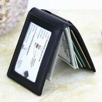 100% Genuine Leather Men's Bifold Wallet RFID Blocking ID Card Holder Money Clip