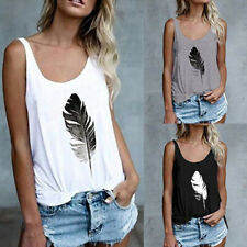 Womens Loose Tank Tops Summer Sleeveless Feather Printed Camis Tops Casual Vest