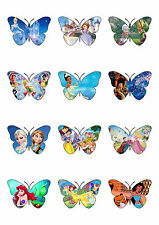 Mixed Disney Princess Frozen Butterfly Shaped Edible Wafer Paper Cake Toppers