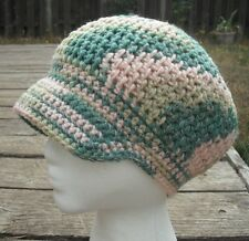 Cool Pastel Colors Crocheted Beanie with a Visor - Handmade by Michaela