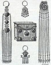 Antique print Jewellery jewelry Turkestan Turkistan holzstich