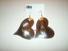 BABY PHAT 1 pair sideways heart cat dangle Earrings silver tone NEW