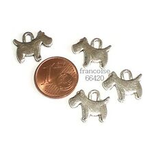B315// LOT 4 BRELOQUES CHARMS PERLES / CHIEN SCOTTISH TERRIER  CREATION BIJOUX