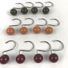 Ceramic Ball Hook Shower Curtain Rings Set of 12 Multi color Fall Colors