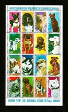 Republic of Guinea Ecuatorial stamps, full mini sheet, dogs cto