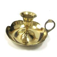 "Solid Brass Old Fashion Gold Color Candle Holder Plate with a Finger Ring 2"" Tal"
