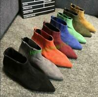 Pointy Toe Womens Pull On Ankle Boots Flat Faux Suede Comfort Leisure Gladiator