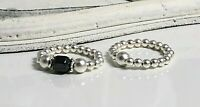 STERLING SILVER STRETCH RING SET WITH HEMATITE BEADS CHUNKY LADIES RINGS 925