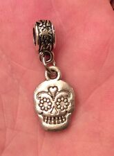 SILVER TONE,DAY OF THE DEAD/ SUGAR SKULL CHARM AND BRACELET BAIL BEAD