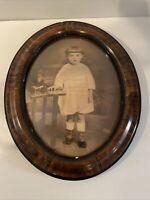 Antique Vintage Oval Frame Convex Bubble Glass Young Boy Photograph Decor 1920s