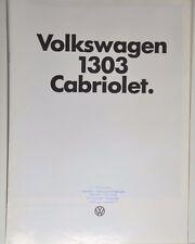 schöner VW Volkswagen Käfer 1303 Cabriolet Prospekt 08/1977 Beetle Bug