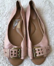 FOSSIL Womens Ballet Flat Open Toe Shoes Sz 10 Pink Gold Buckle