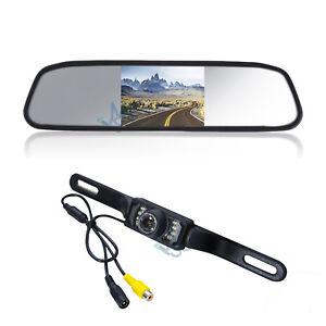 """kit retromarcia telecamera targa e monitor specchietto retrovisore 4,3"""" con cavi"""