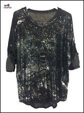 Quirky Lagenlook Italian Ladies Metallic Foil Star T Shirt Top One Size 8 - 12