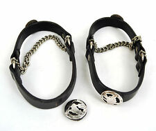 2 Pair Black Leather Sterling Silver Concho Cowboy Wolf Dog Boot Straps Chains