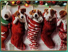 "PUPPIES CHRISTMAS STOCKINGS JIGSAW PUZZLE 24""X18"" Dog Puppy Pet Holiday Xmas NEW"