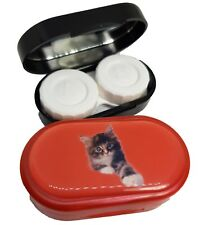 Colourfully Cool Mirror Case Contact Lens Soaking Storage Case UK MADE - Red Cat