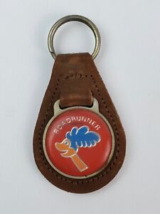 Vintage Plymouth Roadrunner brown leather keychain coin back FOB style cartoon