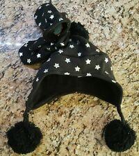 Winter Hat Mittens Set Toddler Girl's Fleece Black Silver Stars WonderKids- NEW