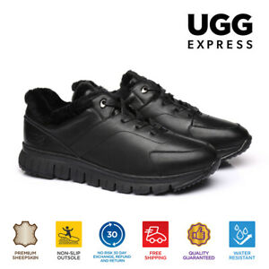 UGG Men Casual Shoes Blago Leather Lace Up Sneaker, Sheepskin Wool Lining