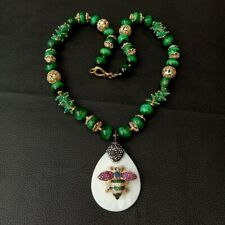 """White Shell Cz insect Pendant Green Tiger Eye Agate Necklace  23"""""""