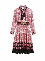 Women's Designer Pussy-Bow Pleated Porcelain Floral Print Dress10 AUS STOCK