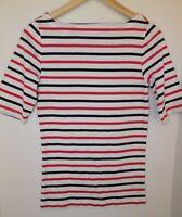 NWT GAP Women's Favorite Boat Neck Red/Dark Blue Striped T-Shirt XS & M MSRP$25