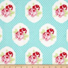 Tanya Whelan fabric material LOLA FRAMES BLUE Floral print shabby chic vintage