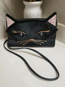 Kate Spade NY JAZZ THINGS UP CAT CALI Clutch Crossbody Leather