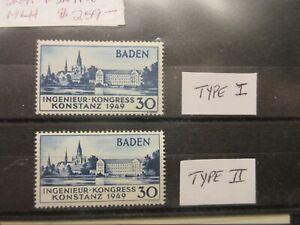 GERMAN Occupation Baden Sc 5N41 5N41a (type I & II) MINT LIGHTLY HINGED Cat $259