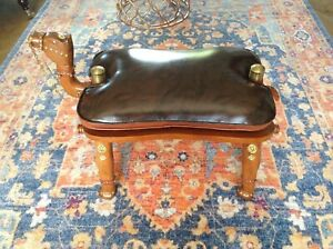 Vintage Camel Stool in Faux Leather Cushion