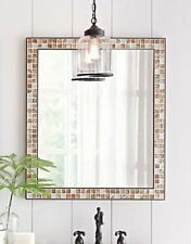 Wall Mirror, Mosaic Marble Tile Frame, Neutral Tone, Heavy/Solid, Hardware Incl
