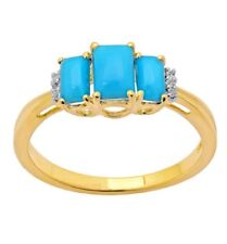 9ct Yellow Gold Blue Topaz and Diamond Ring