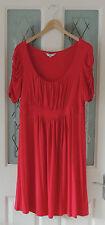 ROCHA JOHN ROCHA Red Ruche Sleeve Pleat Detail Jersey Dress Size 16 Ex Con
