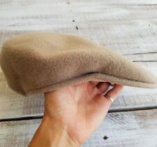 Kangol women men cap 100% pure virgin wool beige solid made in England brown