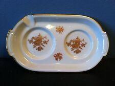 """Vintage LIMOGES Saucer w/ Spoon Rest White Gold Trim Floral Design FRANCE 6.75"""""""