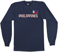 Threadrock Men's Philippines National Team Long Sleeve T-shirt manila flag
