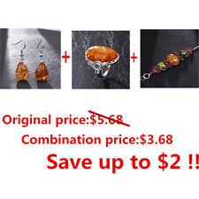 VintageBaltic Amber Colors EarringsAntiqueRing Natural Amber Colors Bracelet