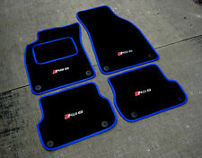 Alfombrillas Coche en negro/Azul Borde para Audi RS6 C6 LHD 08-10 + RS6 Logos x4