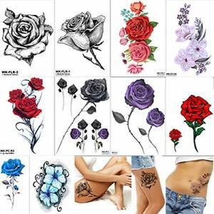 Temporary tattoo women flower big large roses adult sticker realistic waterproof