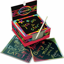 Melissa & Doug Scratch Art Box of Rainbow Mini Notes with Wooden Stylus FreeShip