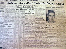 1946 newspaper Boston Red Sox star TED WILLIAMS WINS AL Most valuable Player MVP