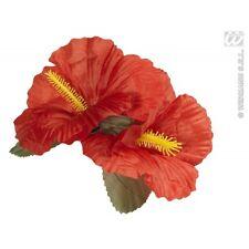 2 X Rojo Hibisco Flor Hair Clips Hawaiano Hula Grl Español Disfraz Utilería