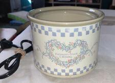 Vintage Rival Potpourri Crock Pot Light Blue Cream Floral Heart Size Small